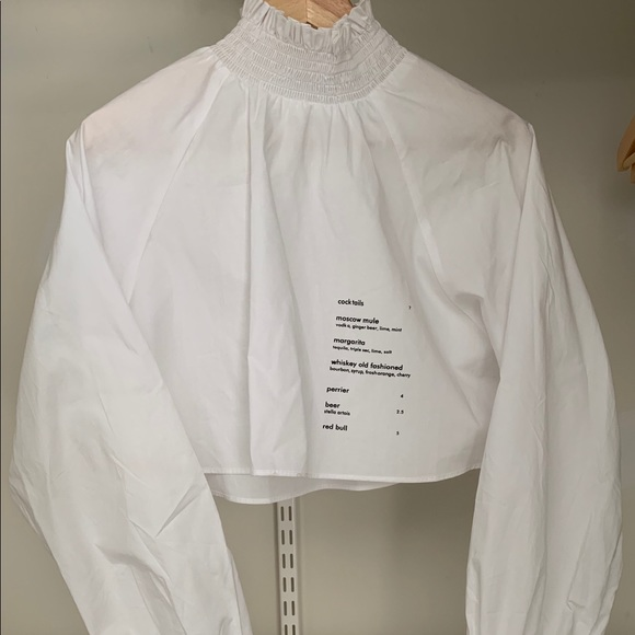 Tops - Cropped White Crêpe Top w/ Wording (Worn Once)